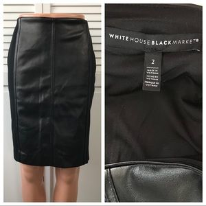 WHBM Faux Leather & Ponte Knit Boot Skirt
